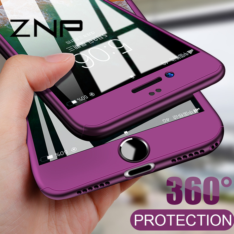 ZNP Luxury 360 Degree Phone Cases For iphone 6 7 8 Plus Case With Tempered Glass Full Cover Cases For iphone 6 6s 7 8 Case Shell