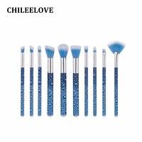 CHILEELOVE 10 Pcs Cosméticos Pincéis de Maquiagem Kit de Reforma de Base Roll Forma De Água De Impressão Para As Mulheres Menina Fundação Escova