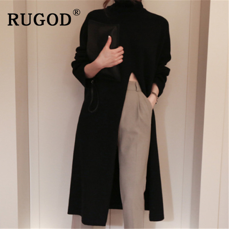 RUGOD Ins New Fashion High Split Women Sweater Turtleneck Long Sleeve Warm Wintere Pullovers Female Korean Long Style Streetwear