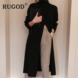 Image 1 - RUGOD Ins new fashion high split women sweater turtleneck Long sleeve warm wintere pullovers female Korean long style streetwear