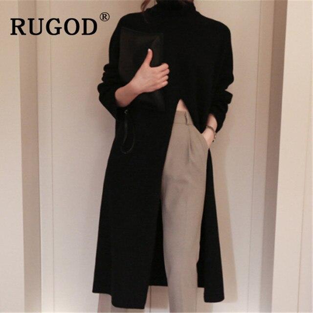 RUGOD Ins new fashion high split women sweater turtleneck Long sleeve warm wintere pullovers female Korean long style streetwear