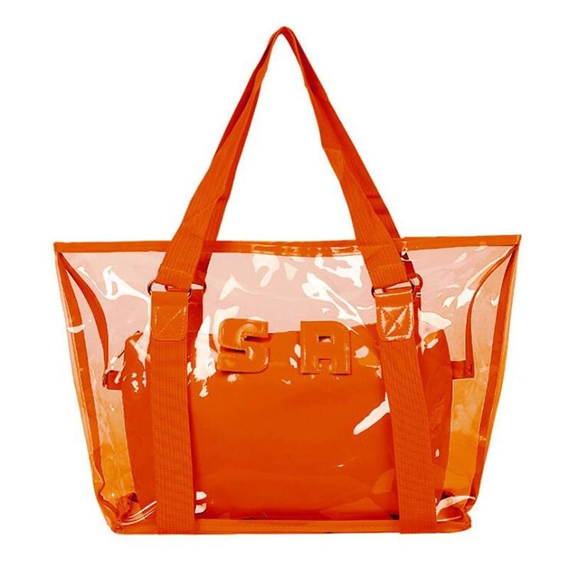 Sale Women New Trend Tote Transparent PVC Handbag Beach Shoulder Bag Hot Sale Jelly Color Plastic Clear Bag Large Shopping Bags