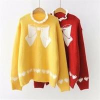 Mori Girl Winter Christmas Knitted Sweater Women Japanese Girls Cute Bow Pattern Ruffles Pullover Warm Kawaii Yellow Red Sweater