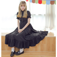 Dolly Delly Sweet Mori Girl Short Sleeve Pleated Chiffon Dress For Summer With Ruffles Black Light