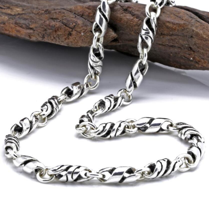 Mens retro 4mm twisted knot necklace chain sterling 925 silver jewelry chainMens retro 4mm twisted knot necklace chain sterling 925 silver jewelry chain