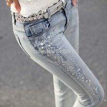 2016 Spring New Female Hole Jeans Beading Rhinestones Slim Feet Pencil Pants Jeans Women