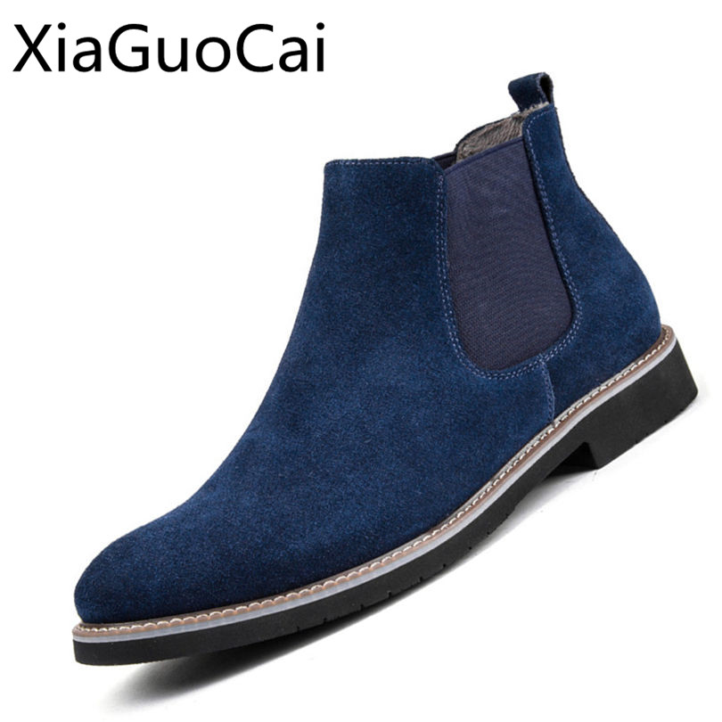 Vintage Genuine Leather Fashion Men Casual Boots Pointed Toe High Quality Male Chelsea Boots Winter Retro Shoes