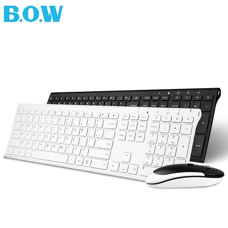 B.O.W Metal Ultra delgado teclado inalámbrico y ratón combo, diseño ergonómico y tamaño completo teclado para PC de escritorio