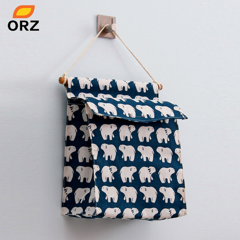 ORZ Hanging Storage Bag Wall Sundry Fabric Cotton Pocket Hanging Holder Rack Makeup Organizer Home Decoration Storage Box