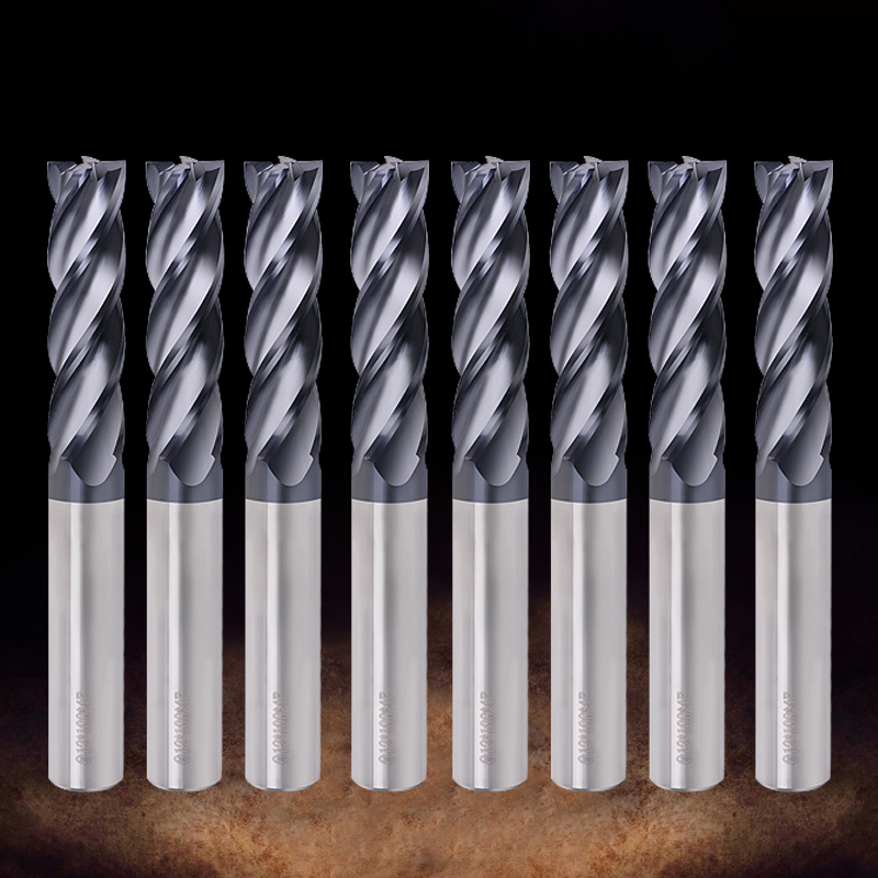 Endmill Cutting HRC50 4 Flute Mill 3mm 4mm 6mm 8mm 10mm 12mm Alloy Carbide Tungsten Steel Milling Cutter End Mill Metal Cutter(China)