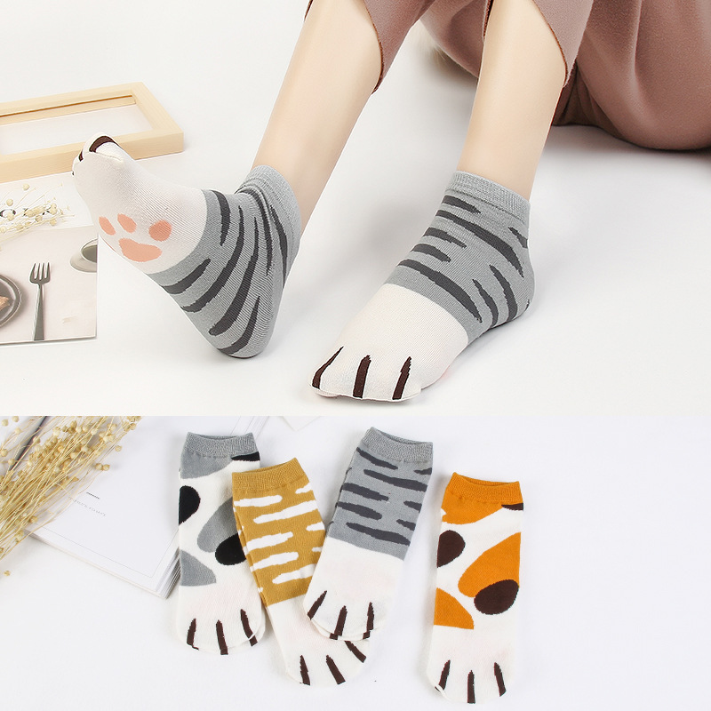 1pairs Summer Cat Paw Cotton Cartoon Cat Women Boat Socks Girls Pattern Suit for Summer Breathable Casual Ladies Funny Sock New
