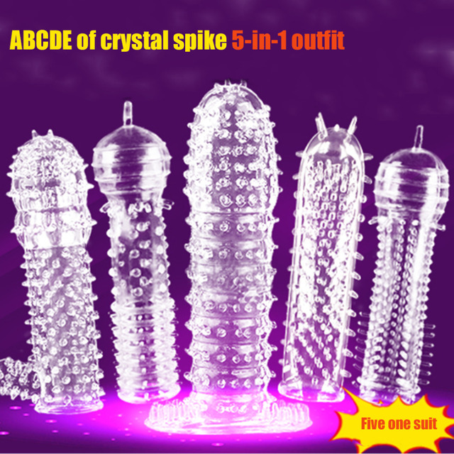 5pcs/set TPE Penis Sleeve Delay Time Crystal Cock Rings Reusable Condom Penis Extension Penis Rings Adult Sex Toys for Men