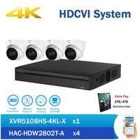 DH 4 К XVR Наборы 8CH XVR5108HS 4KL X HDCVI DVR с 4 HAC HDW2802T A Starlight ИК купольная камера наблюдения для безопасности, видеонаблюдения DVR комплект
