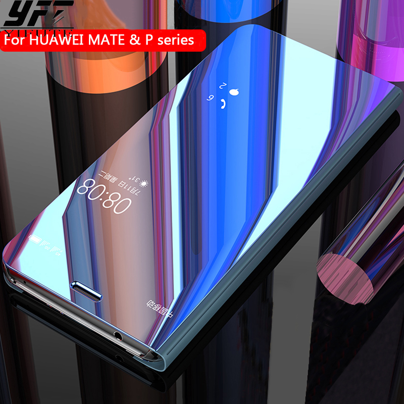 For HUAWEI MATE 10 Case Original Smart Chip Mirror Flip Clear View for HUAWEI P20 Pro P10 P9 Plus MATE 10 9 Pro 8 Case Cover
