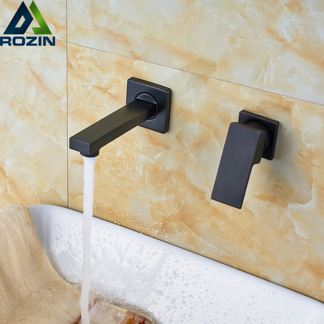 Us 4235 45 Offfree Postage One Handle Two Hole Wall Mount Basin Faucet Solid Brass Bathroom Lavatory Sink Mixer Taps Faucet Accessory In Basin
