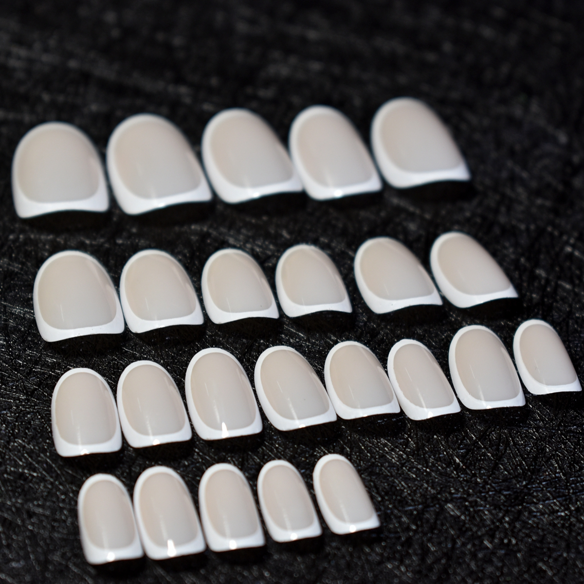 Oval Shape Lady Acrylic French Nails Shine Beige White Fake Nail ...