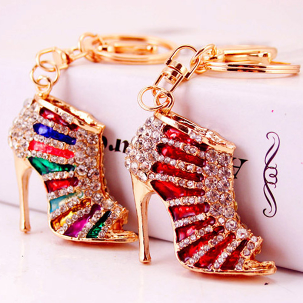 Creative High Heel Shoes Keychains Rhinestone Keyring Women Handbag Key Holder Fashion Women Jewelry Accessories