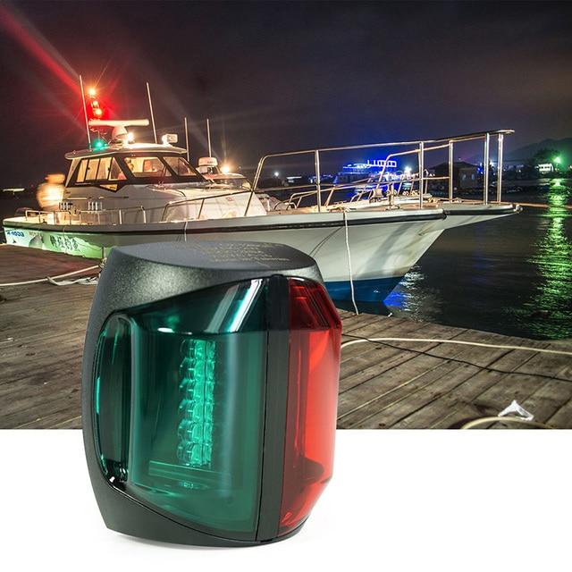 12V DC Red Green Marine Boat LED Light 2W Bi Color Plastic Navigator Light Lamp