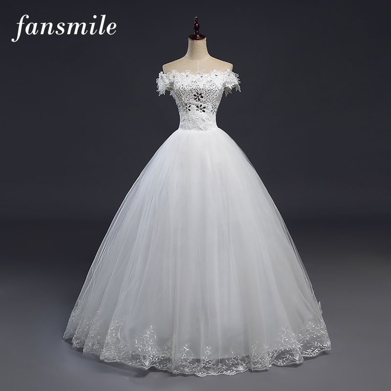 Fansmile Cheap Robes de Mariee Vintage Lace Up Ball Wedding Dresses 2017 Bridal Dress Real Photo Wedding Gowns
