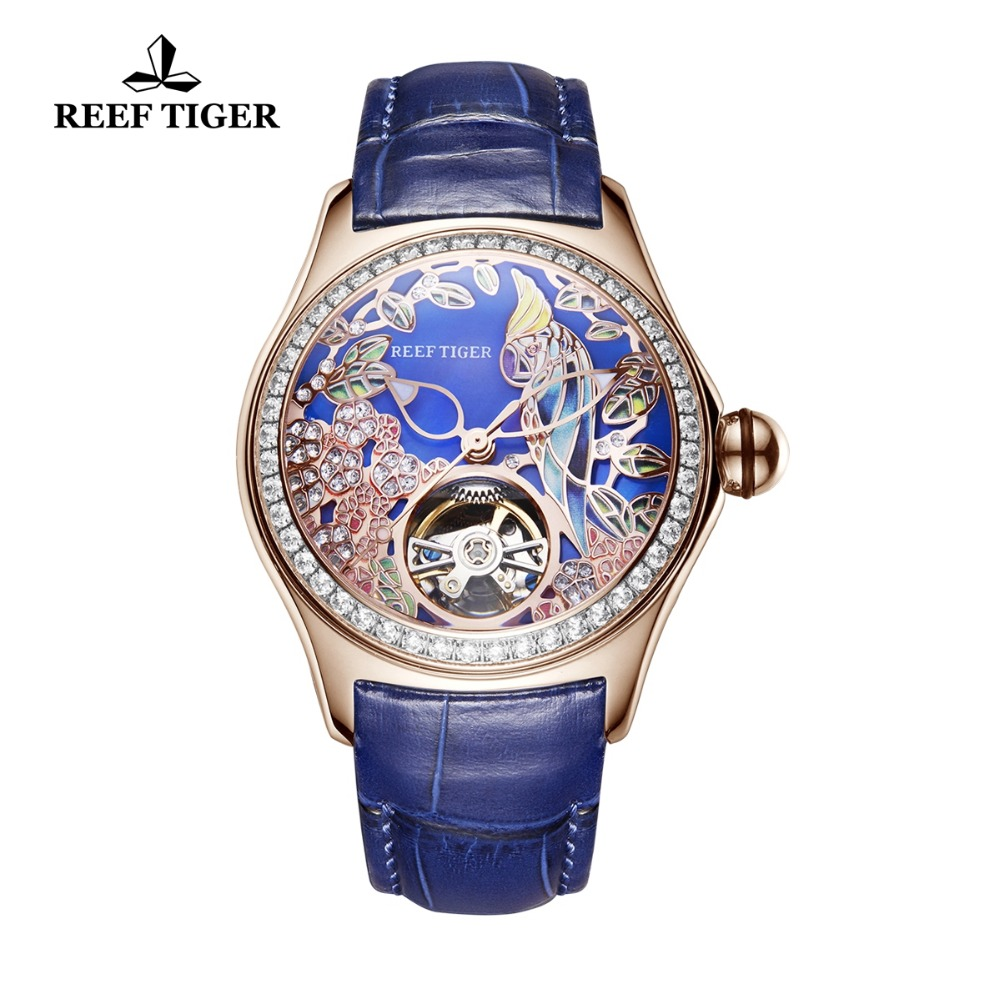 Reef Tiger/RT Blue Dial Fashion Watches for Women Leather Strap Waterproof Automatic Watches Diamond Tourbillon Watch RGA7105 цена и фото