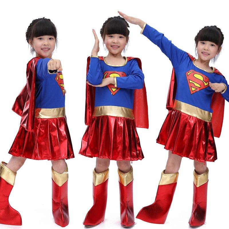 Child Kids Super Girls Supergirl Costume Cosplay Superman Halloween Superhero Costume For Kids Party Dress