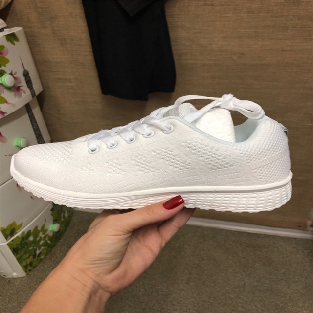 Sneakers Women Sport Shoes Lace-Up Beginner Rubber Fashion Mesh Round Cross Straps Flat Sneakers Running Shoes Casual Shoes 4