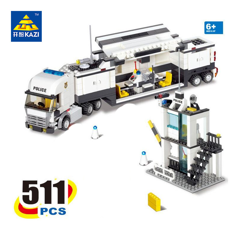 2017 new KAZI 6727 Police Command Vehicle Building Blocks SWAT Truck 511 Pcs Bricks Educational Toys For Children Birthday Gift kazi 6409 163 pcs truck building blocks city car bricks educational building toys for kids birthday gift