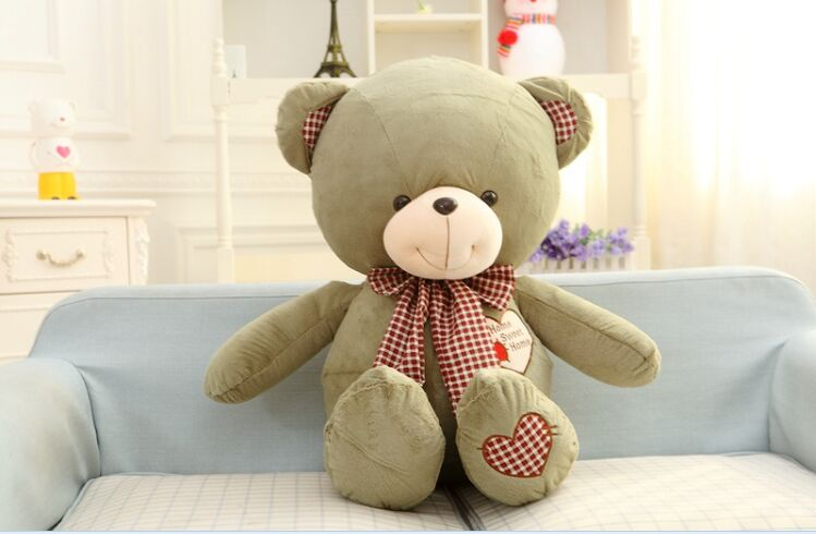 lovely teddy bear toy plush bow teddy bear green heart bear doll gift about 80cm the lovely lying teddy bear doll blue stripe cloth plush bear toy gift toy about 80cm