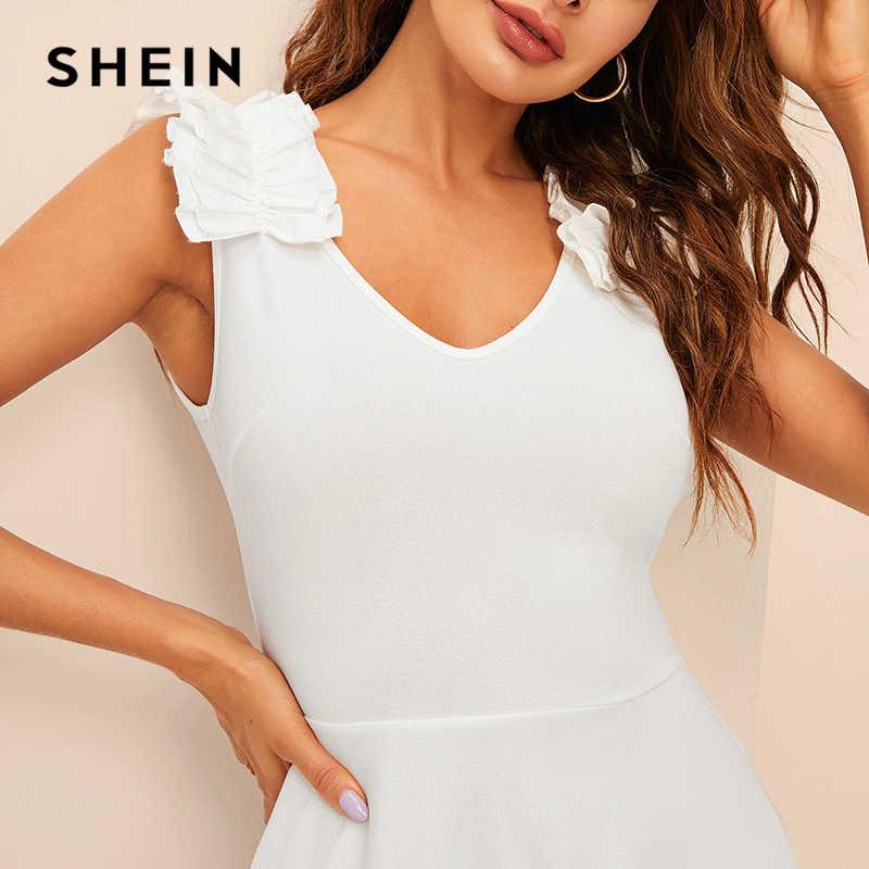 SHEIN Контрастное Платье С Молнией Сзади Женское Белое Элегантное Платье С V-Образным Вырезом И Без Рукавов