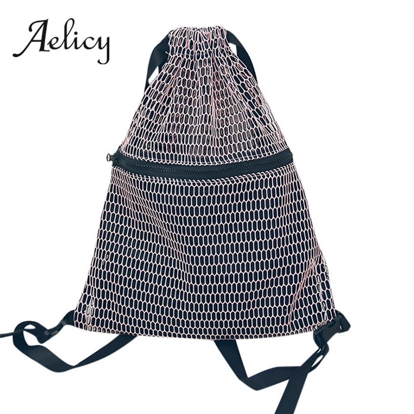 Aelicy Mesh Cloth Shoulder Pockets Women Men Folding Drawstring Backpack Environmentally Female Travel Fitness Sports BagAelicy Mesh Cloth Shoulder Pockets Women Men Folding Drawstring Backpack Environmentally Female Travel Fitness Sports Bag
