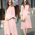 Summer New Pregnant Woman Maternity Lace Dress Beauty Pink Maternity Clothes Pregnancy Plus Size Clothing