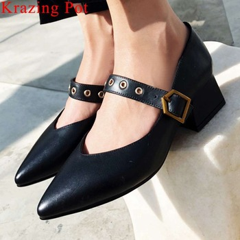 Krazing Pot natural leather thick high heels pointed toe oxford pumps buckle strap large size European style dress shoes L6f7