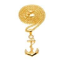 MCSAYS Hip Hop Biżuteria Złoty/Srebrny Kolor CZ Pełny Kryształ Kotwica Wisiorek 70 cm Link Łańcucha Bling Naszyjnik Mężczyzna moda Prezent 4GM