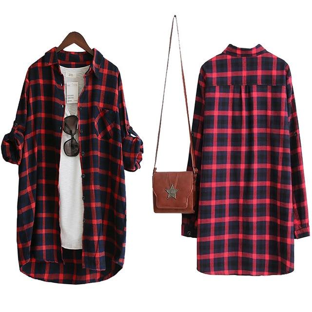 Blusa de mujer Camisa suelta Casual Plaid Camisas de manga larga Tops de gran tamaño Blusas para mujer Rojo Verde 2021 4