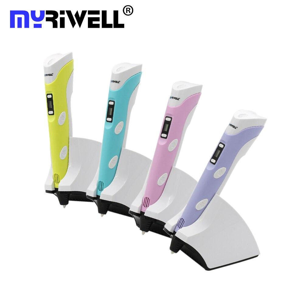 2017 original myriwell cuarto ger 3D pluma 1.75mm PCL/Pla carga inalámbrica Bolígrafos de 3D UE, Reino Unido, ee.uu., au 3D draw pen 3D modelo envío gratis