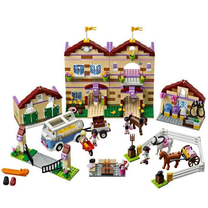 10170 BELA Friends Series Summer Riding Camp Model Building Blocks Enlighten Figure Toys For Children Compatible Legoe 10156 bela friends series butterfly beauty shop model building blocks enlighten diy figure toys for children compatible legoe