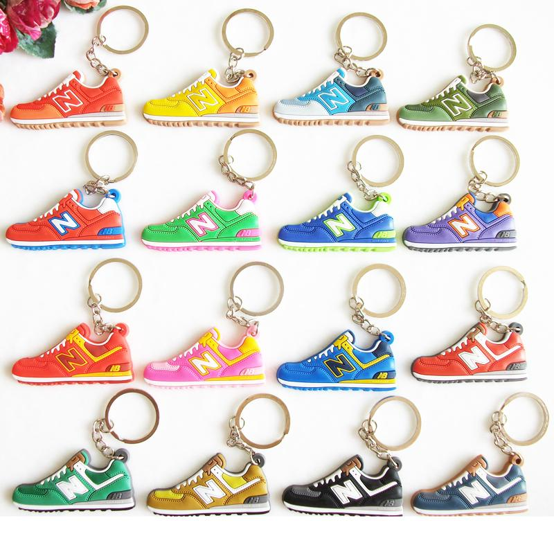 цена на Cute Mini Silicone New Balanceer 574 Keychain Bag Charm Woman Men Kids Key Ring Gifts Sneaker Key Holder Jordan Shoes Key Chain