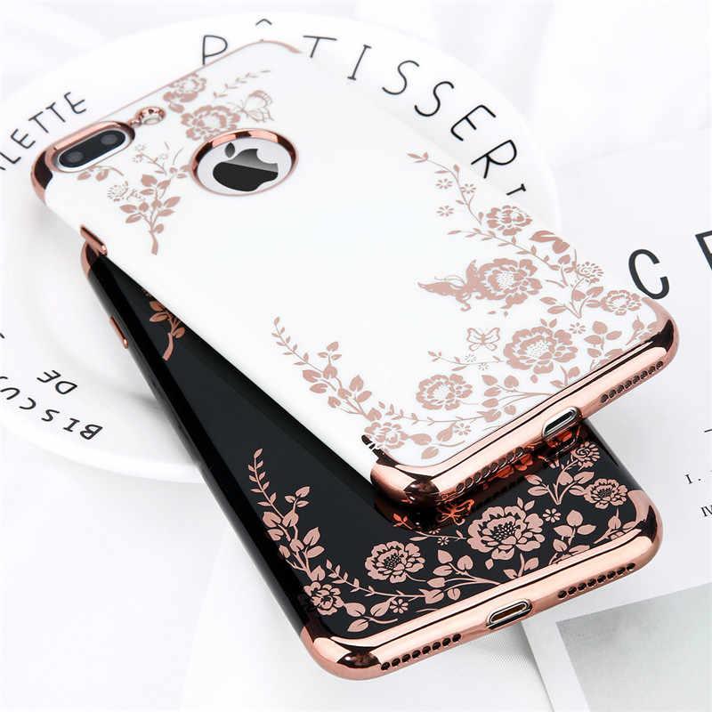 حقيبة لهاتف أي فون X 7 8 6 6s Plus موضة تصفيح وردي ذهبي أسود أبيض صلب أغلفة الهاتف المحمول للسيدات الغطاء الخلفي للآيفون X XR Xs Max