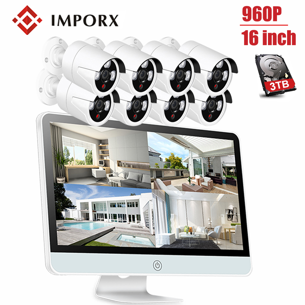 IMPORX 8PCS 960P HD Wireless Security Cameras for Home H.265 8CH NVR CCTV Camera Security System Kit With 16\