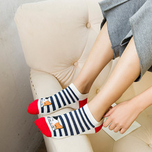 KingDeng 5 Pairs of Socks Womens Summer New Striped Boat Sock Cute Cat Funny Moomin Korean Style Fashion Design Harajuku