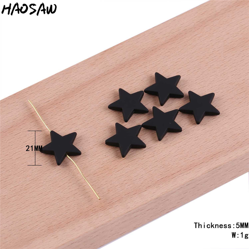 21MM 100Pcs/Lot Matte Black Pentagram Shape Beads With Hole Acrylic Beads For Kids DIY Jewelry Necklace Making