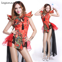 Chinese Style Sexy Jumpsuit Women Singer Dancer Pole Dancing Stage Wear Nightclub Bar DJ DS Acrobatic dance Costume clothing