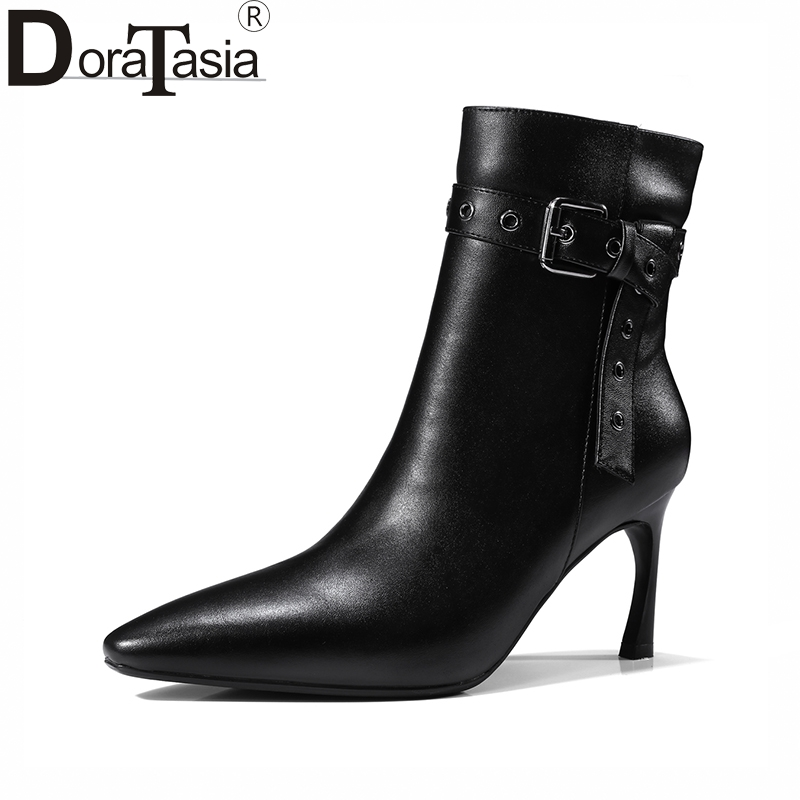 DoraTasia 2017 large size 33-43 pointed toe buckels genuine leather women shoes woman fashion high heels party ankle boots doratasia embroidery big size 33 43 pointed toe women shoes woman sexy thin high heels brand pumps party nightclub