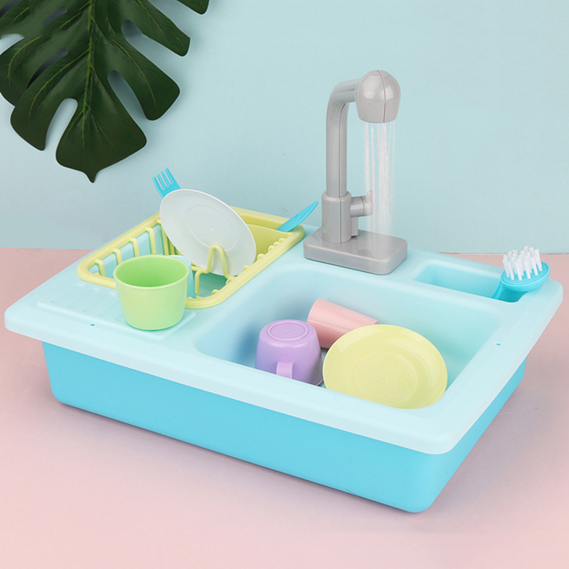 Kids Simulation Electric Dishwasher Toy Pink Blue Kitchenware Pretend Play Miniature Educational Kitchen Toys For Girls Children