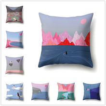 Cartoon Scene Cushion Cover Creative Abstract Pattern Decorative Polyester Pillow Covers for Sofa Living Room Home Decor 45x45cm