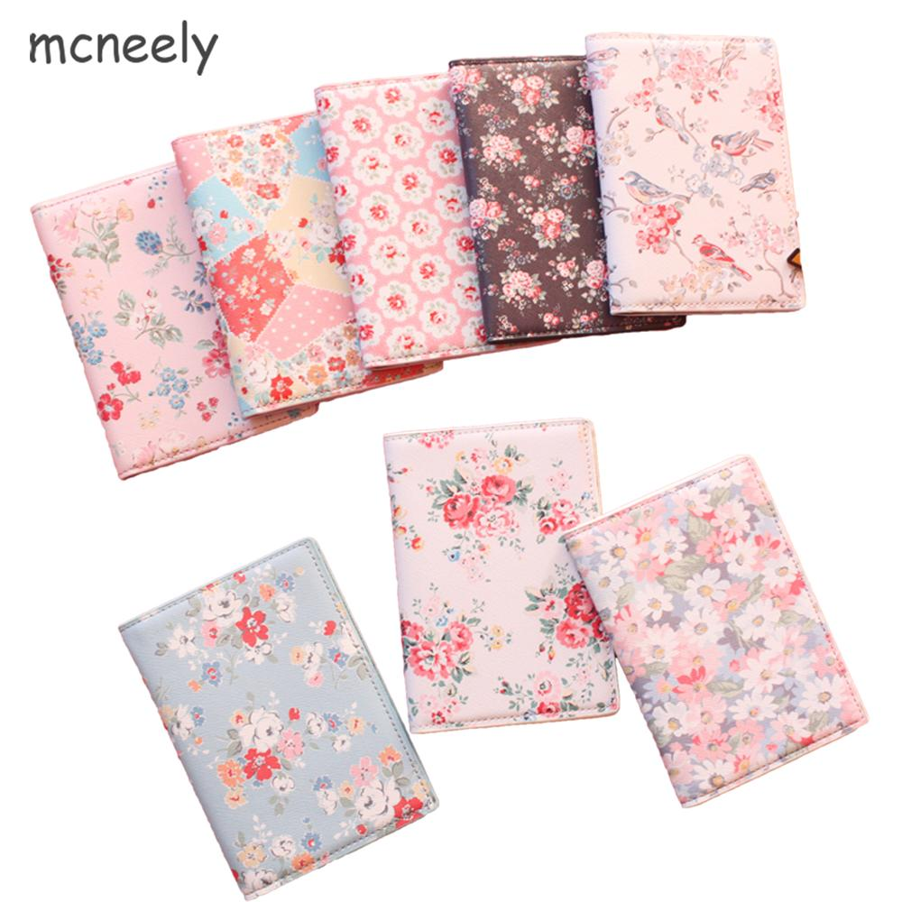 2018 Fashion Floral Print PU Leather Passport Holde