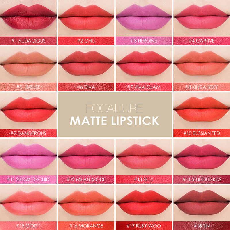 FOCALLURE מט שפתון עמיד למים קל ללבוש קטיפה איפור יופי שפתי נשים עירום שפתון Batom גבירותיי מתנה קוסמטי