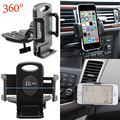 New 360 Degree Rotation Universal Car CD Slot Phone Mount Holder Cradle For Mobiles iPhone Samsung Black color