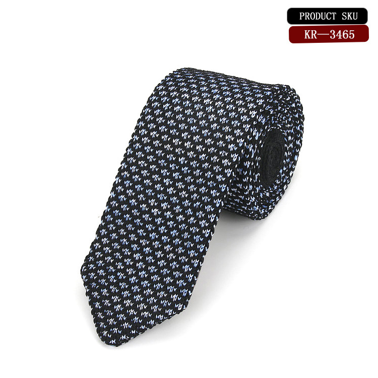 Elegant Hand Made Knitted Silk Tie, Featuring A Silver Pattern Against A Black Background Exquisite Silk Knit Tie Worn Functions