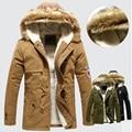 2014 nuevo invierno mens estilo coreano de la manera larga de algodón chaqueta de la capa ocasional de los hombres parkas cálido abrigo dropshipping